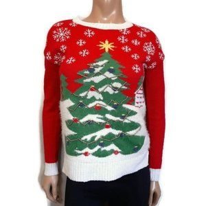 Be Merry Ugly Christmas Tree Light Up Sweater